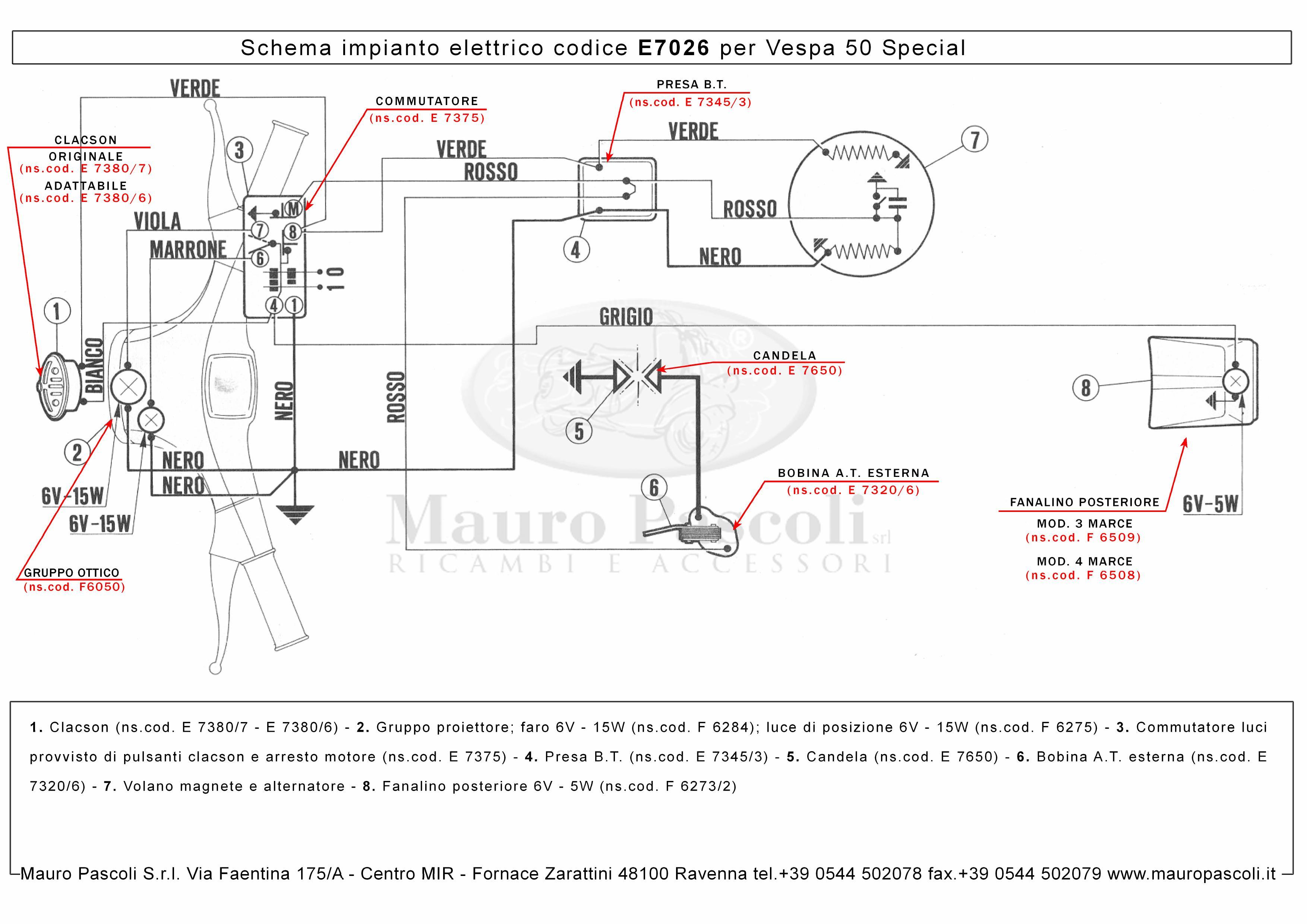 Wiring Diagram Vespa 50 Special : Wiring « pièces vespa lambretta